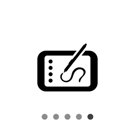 stylus: Icon of tablet computer with stylus drawing on screen