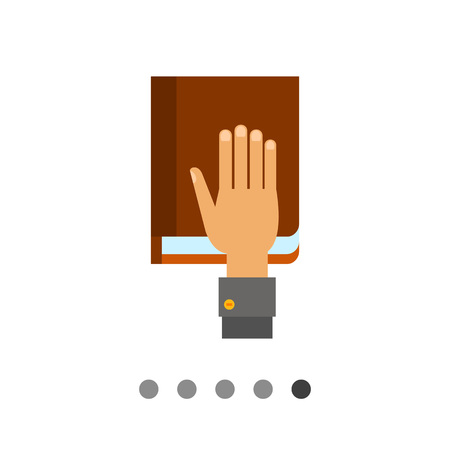 swear: Multicolored vector icon of taking oath represented by book with hand lying on it Illustration