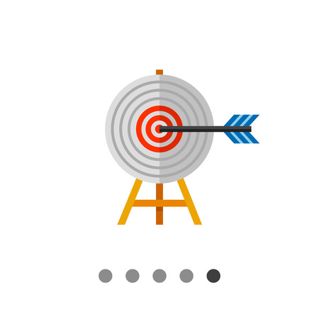 Multicolored vector icon of target on wooden stand with arrow representing targeting concept