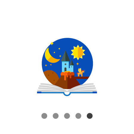 libros abiertos: icono de vectores multicolor del libro abierto con la imagen de cuento de hadas en círculo por encima de ella Vectores