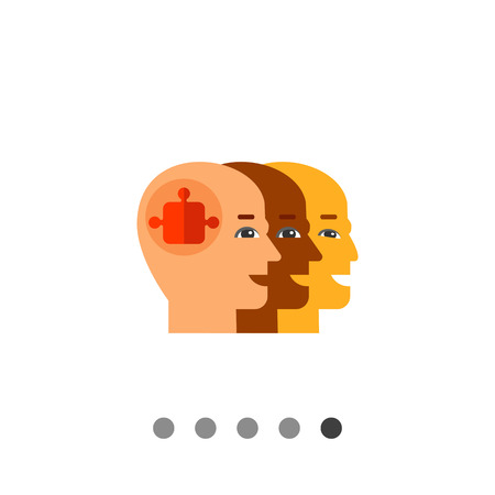 one team: Three bald heads profiles one behind another with puzzle element in front. Cooperation, multinational, partnership. Team concept. Can be used for topics like business, management, recruitment.