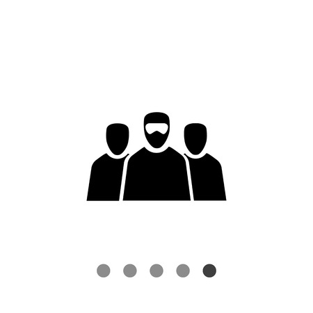 hostage: Terrorism flat icon. Vector illustration of three terrorists in mask