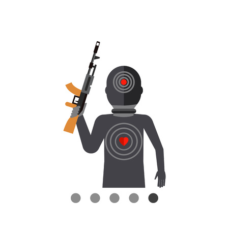 Multicolored flat icon of terrorist silhouette with gun and targets on body
