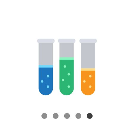 bubbling: Icon of test tubes with multicolored bubbling liquid
