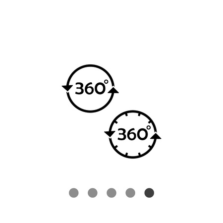 representations: Monochrome vector icon of set of representations of three hundred and sixty degrees