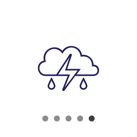 precipitation: Icon of clouds with falling raindrops and lightning