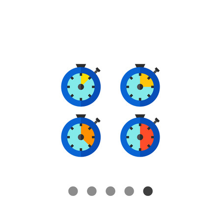 metering: Multicolored vector icon of stopwatch with different time intervals