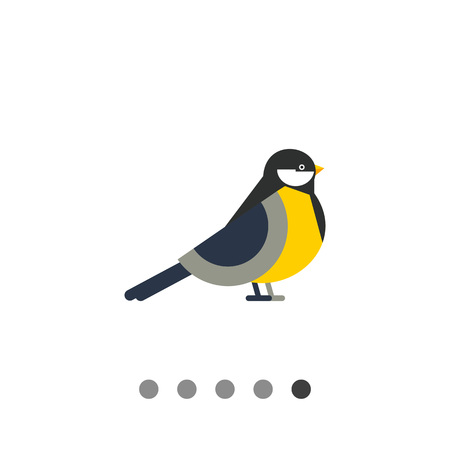 chickadee: Multicolored vector icon of titmouse, side view Illustration