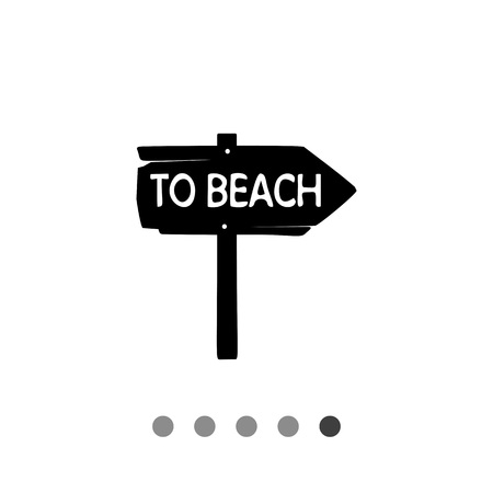 recess: Monochrome vector icon of vintage wooden arrow sign To beach