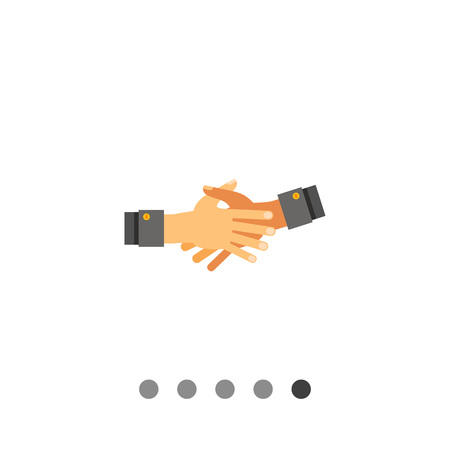 friend  nobody: Multicolored vector icon of two open hands stretched out for shaking and held together Illustration
