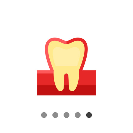 Tooth flat icon. Multicolored vector illustration of tooth and gum Illustration