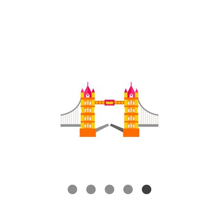 london tower bridge: Tower Bridge vector icon. Multicolored illustration of famous bridge in London Illustration