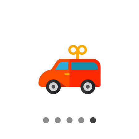 baby playing toy: Multicolored vector icon of red wind-up toy car Illustration