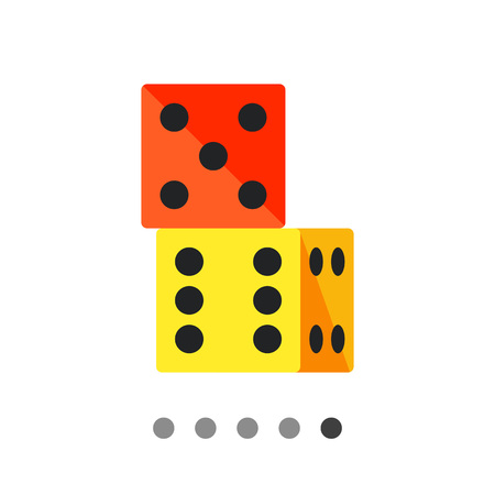 six point: Multicolored vector icon of two dice standing on top of one another