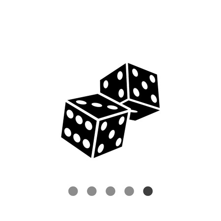 backgammon: Monochrome simple icon of two overlapping dice, 3d view, with visible three, five, six, four, one black faces
