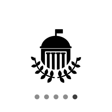 Monochrome vector icon of university building with dome, flag, columns and laurel leaves Illustration