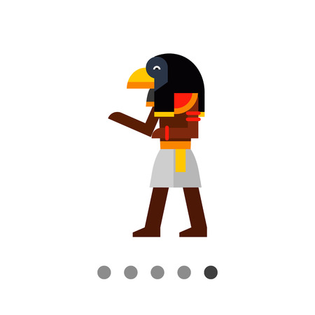 cult tradition: Multicolored image of falcon-headed Ancient Egypt Deity Ra isolated on white background Illustration