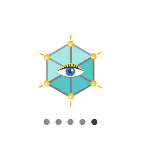 Icon of human eye in hexagon