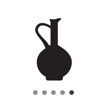 Vector icon of vintage clay jug with handle Illustration