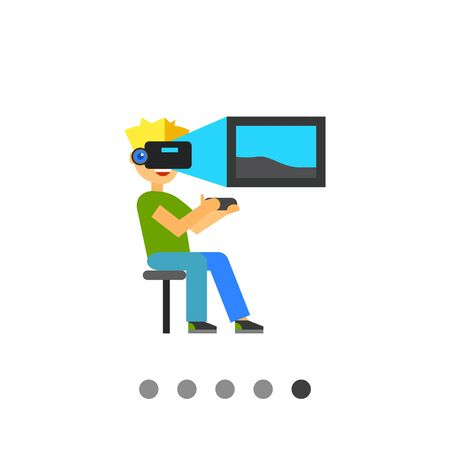 newness: Multicolored flat icon of man holding remote control and wearing virtual reality glasses Illustration