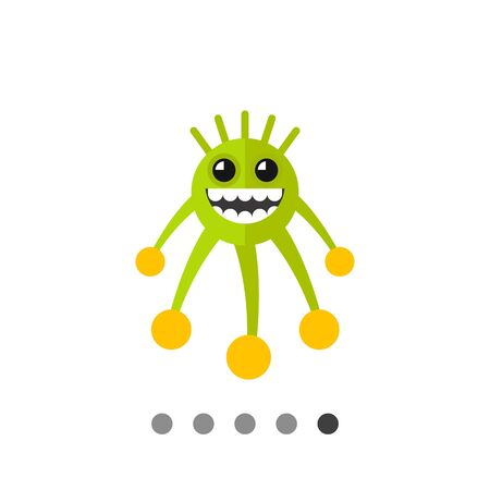 cilia: Virus cartoon character flat icon. Multicolored vector illustration of grinning bacterium Illustration