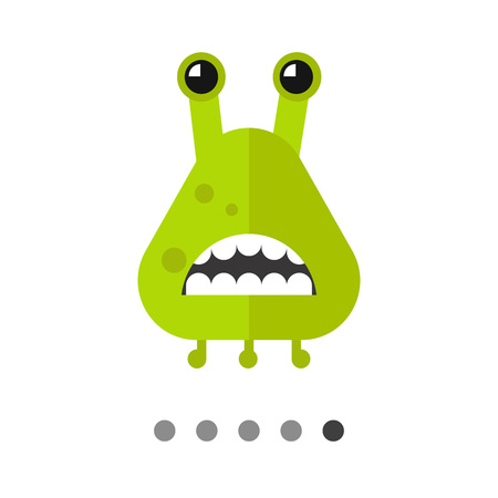 Virus cartoon character icon. Multicolored vector illustration of bacterium showing its teeth Illustration