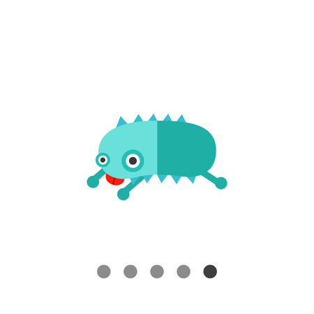 licking in isolated: Virus cartoon character flat icon. Multicolored vector illustration of bacterium showing its tongue