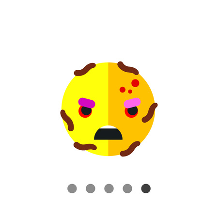 Virus cartoon character icon. Multicolored vector illustration of angry bacterium