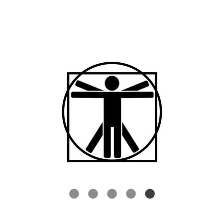 leonardo da vinci: Monochrome vector icon of minimalistic Vitruvian man