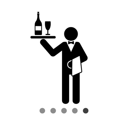 sommelier: Man holding tray with bottle and glass and towel. Waiter concept. Can be used for topics like service, restaurant business, catering.