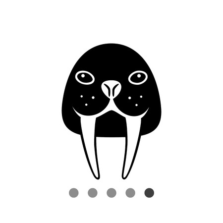 tusks: Vector icon of walrus head with long tusks