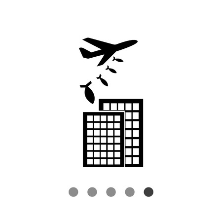 military aircraft: War flat icon. Vector illustration of military aircraft bombing buildings Illustration