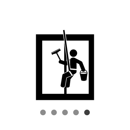 window cleaner: Person washing window. Cleaning, service, window cleaner. Cleaning concept. Can be used for cleaning services, work Illustration