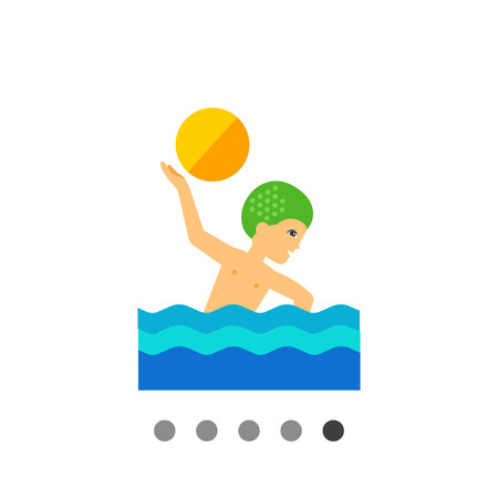 water polo: Multicolored vector icon of water polo player swimming and throwing ball Illustration