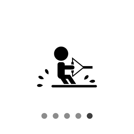 water skiing: Vector icon of water skiing man silhouette