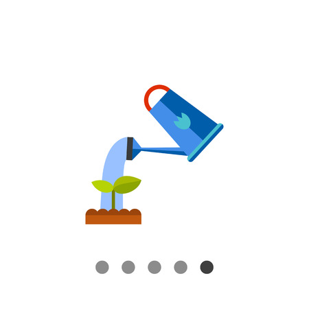 watering plant: Multicolored vector icon of watering plant from watering can Illustration