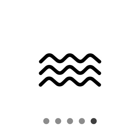 Monochrome vector icon of three squiggly lines representing water waves