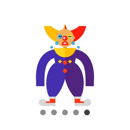 zapatos caricatura: Icono del payaso llorando triste en traje colorido Vectores