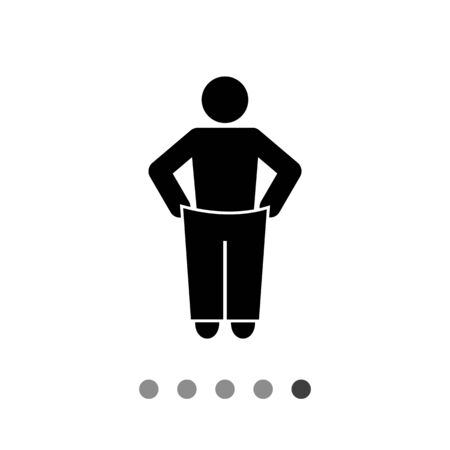 dietology: Man putting on oversized trousers. Slim, healthy, diet. Weight loss concept. Can be used for topics like dietology, health, fitness.