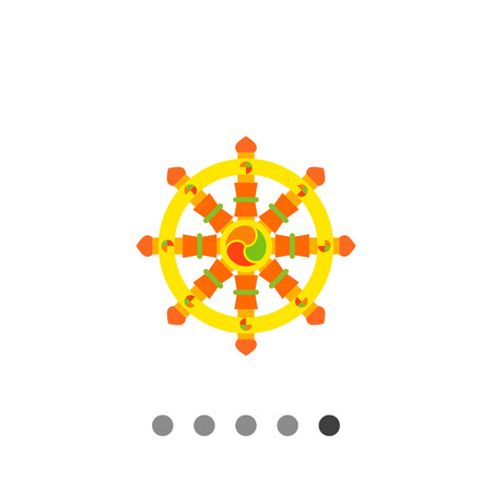 wheel of dharma: Multicolored vector icon of Indian symbol wheel of Dharma