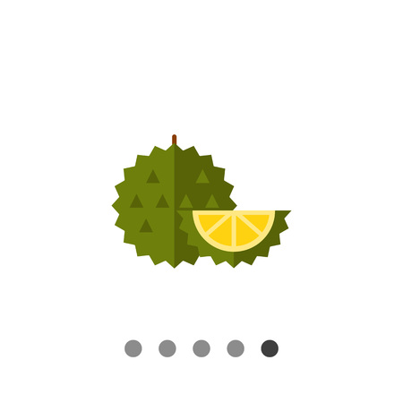 Multicolored vector icon of whole exotic fruit durian and cut piece