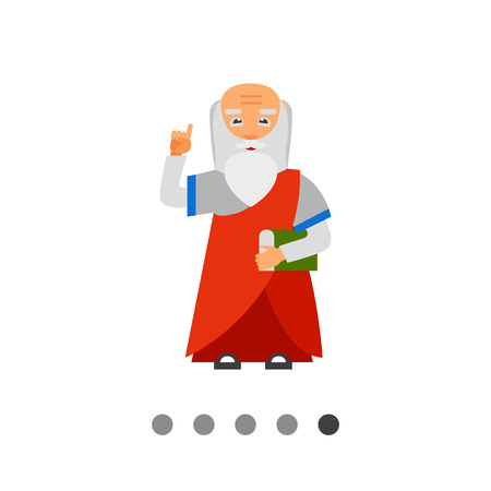 Wisdom person icon. Multicolored vector illustration of elderly person with book and finger up Illustration