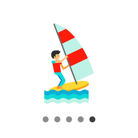 sailboard: Multicolored vector icon of wind surfer sailing sailboard