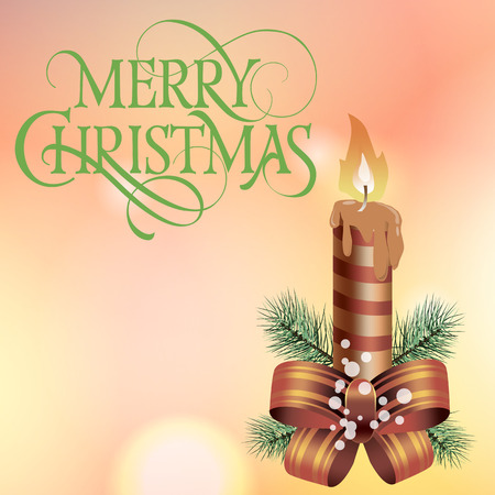christmas candle: Merry Christmas lettering. Christmas greeting card with fir tree branch, bow and lit candle. Typed text. For greeting cards, posters, leaflets and brochures.