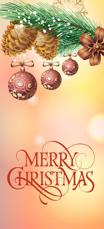 typed: Merry Christmas lettering. Christmas greeting card with snowflake and balls hanging on fir tree branch with cones. Typed text. For greeting cards, posters, leaflets and brochures.