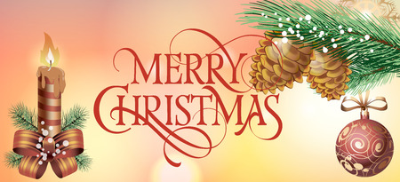 Merry Christmas lettering. Christmas greeting card with fir tree branch, cones, ball and lit candle. Typed text. For greeting cards, posters, leaflets and brochures.
