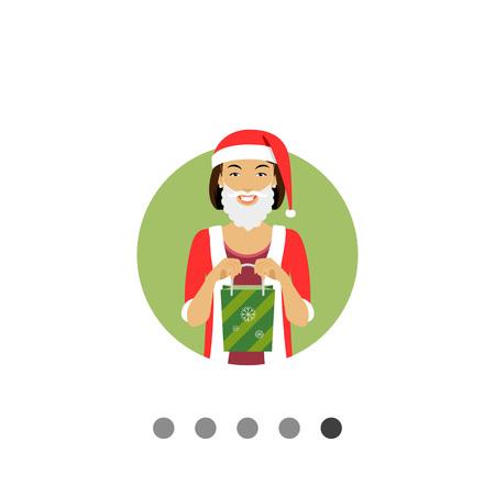 Female character, portrait of smiling woman wearing Santa costume, holding green gift bag Illustration