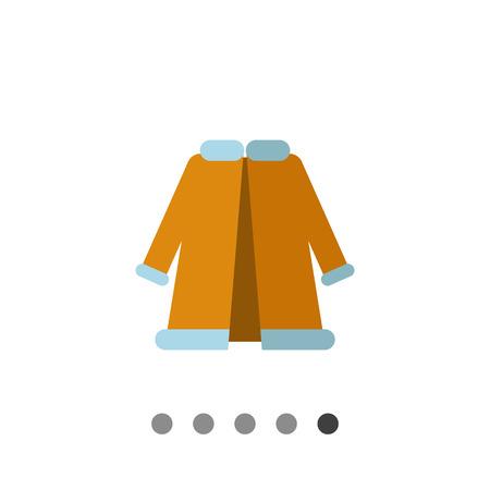 woman in fur coat: Multicolored vector icon of blue woman fur coat Illustration