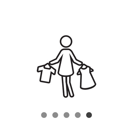 hangers: Icon of woman?s silhouette holding clothes on hangers