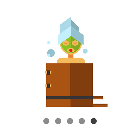 woman bath: Multicolored vector icon of woman with mudpack on face, sitting in bath